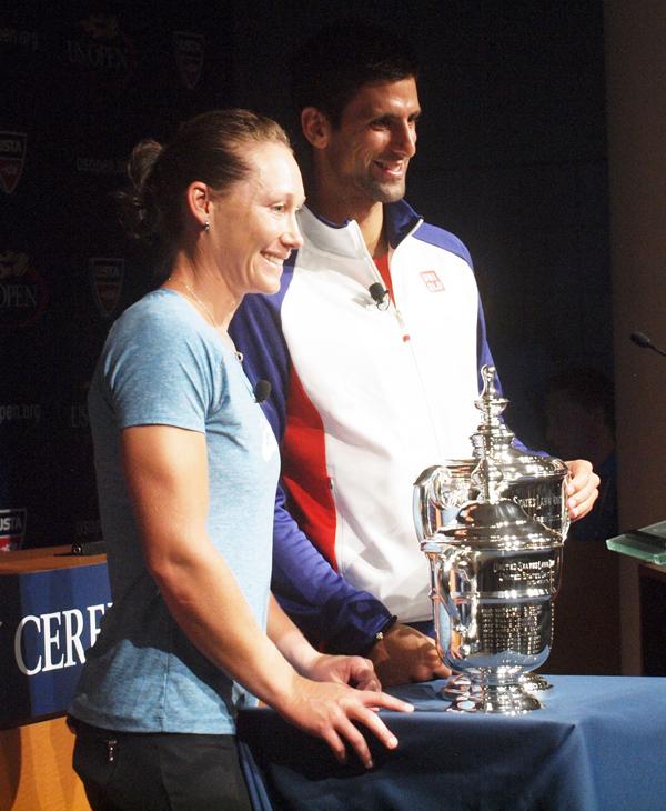 Djokovic y Samantha Stosur   Durante la conferencia de prensa